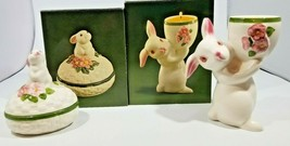 Vintage Avon Bunny Bright Ceramic Trinket Box and Candle Holder - $22.76