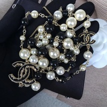 Authentic Chanel CC Logo Long Beaded 2 Tone Faux Pearl Necklace Gold Black image 4