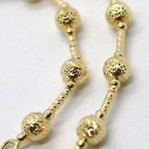 18K YELLOW GOLD BRACELET FINELY WORKED 5 MM BALL SPHERE AND TUBE LINK 7.5 INCHES image 2