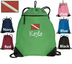 Personalized Kids Cinch Pack, Backpack,Dive Monogram,Custom Name,Pool,Gy... - $19.99