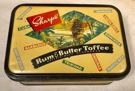 VTG SHARPS RUM & BUTTER TOFFEE TIN CARIBBEAN ISLANDS THEME MADE IN ENGLAND - $27.71