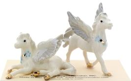 Hagen-Renaker Miniature Ceramic Pegasus Figurine Standing and Lying Set of 2