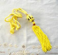 Necklace Yellow Cloisonne Enamel Necklace Cylinder Barrel Silk Cord Vint... - $38.00
