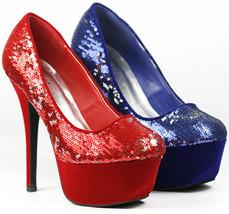 Two Tone Silver Sequin Glitter Round Toe Platform Pump Qupid Psyche-09 R... - $9.99