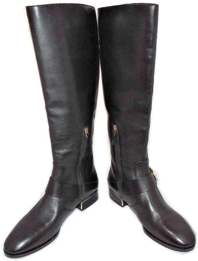96b58d51af91 ... Tory Burch SOFIA Black Leather Riding Boots Flat Buckled Equestrian  Booties 8.5 ...
