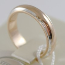 18K YELLOW WHITE GOLD WEDDING BAND UNOAERRE RING 7 GRAMS MARRIAGE MADE IN ITALY image 2