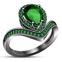 Chevron Engagement Ring Pear Shape Green Sapphire Black Gold Finish 925 ... - ₹6,396.73 INR