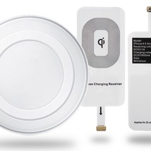 FREE iPhone Wireless Receiver with White Qi Wireless Charging Dock Charg... - $6.62