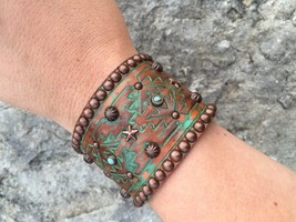 Rowdy Cowgirl Genuine Leather Bracelet Handcrafted, Studded Bronze & Tur... - $79.15