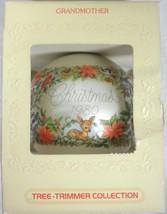 Vintage Hallmark 1980 Grandmother Ornament Woodland Creatures & Poinsettias - $19.35