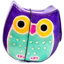 MATR Boomie Handmade Leather Purple Owl Bird Piggy Coin Still Bank Made ... - $14.84