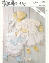 Baby Layette Set Crochet Patterns Jacket Mitts Cap Booties Peter Pan - $8.00