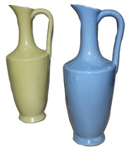 Vintage Retro Uhl Lot of 2 Pastel Blue and Yellow Pitchers - $32.95