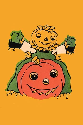 Primary image for Scarecrow and Jack-O-Lantern - Art Print