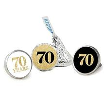 70th Birthday Favor Stickers, Kisses Candy Stickers, Gold Glitter, 324 Total Lab - $13.37