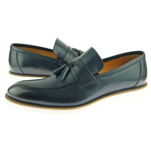 Magnificiant Blue Color Rounded Apron Toe Men Party Wear Stylish Loafers Shoes