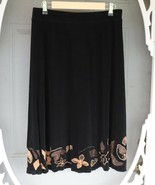 Black Skirt by Chico's Travelers with Floral Appliques Around Hem - $9.99
