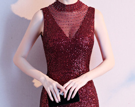 Burgundy Sequin Maxi Formal Dress High Waist V Neck Sequin Dress Wedding Gowns image 5