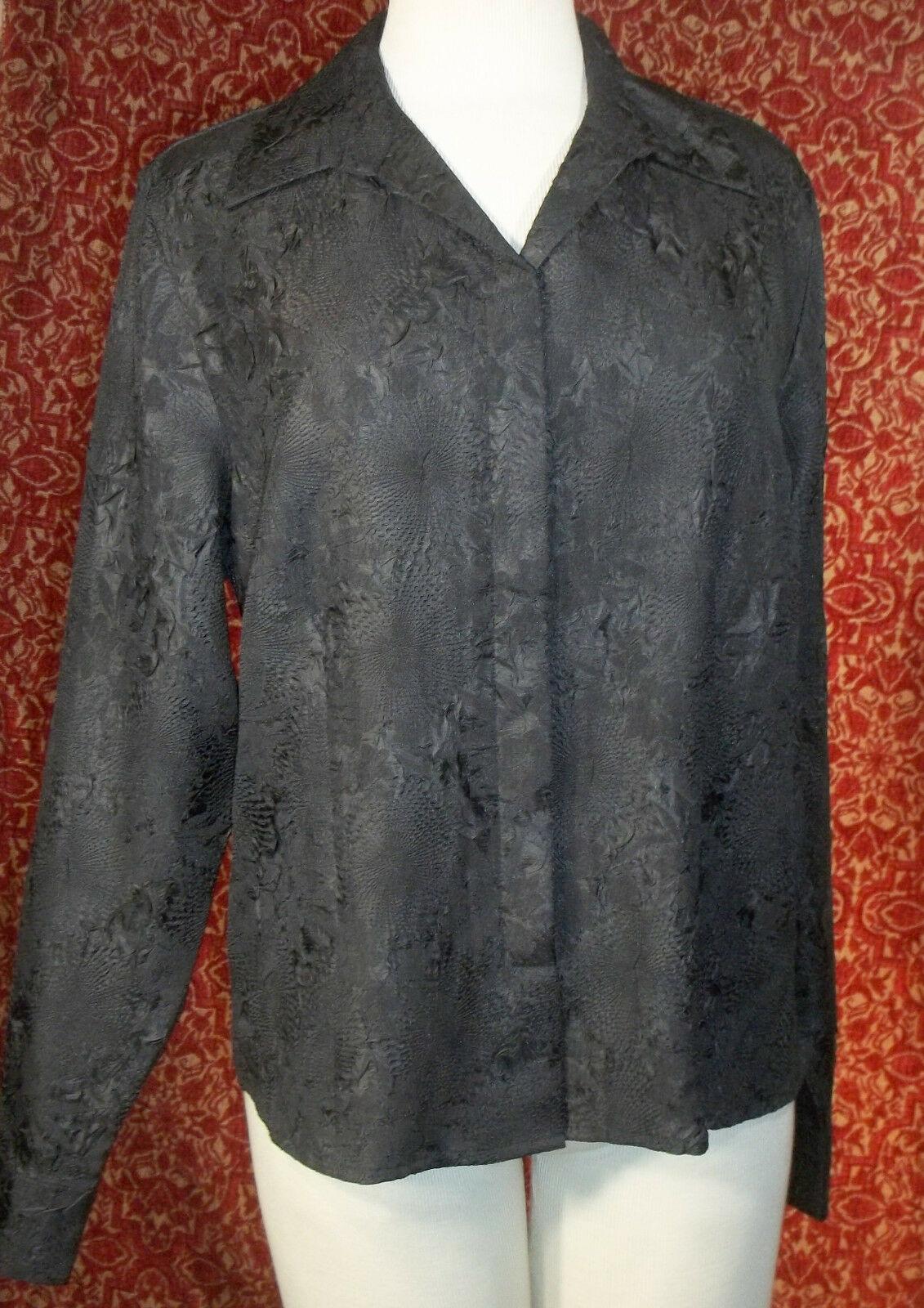 KORET black wrinkle polyester long sleeve blouse 16 (T45-03G8G)