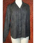 KORET black wrinkle polyester long sleeve blouse 16 (T45-03G8G) - $7.90