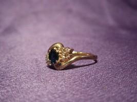 Vintage 14k Gold Sapphire & Diamond Ring Size 6 1/4 - $247.50