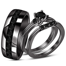 14k Black Gold Plated 925 Silver Black CZ Engagement Trio Ring Set & Free Gift - $125.76