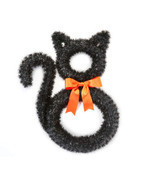 HL Halloween Decor - Black Cat Tinsel Wreath - £16.82 GBP