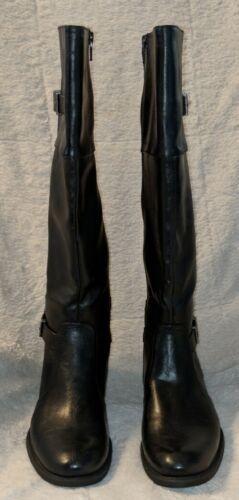 YUU Rocio Black Zipper Knee Hight Double Buckle Boots Size 7M