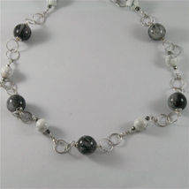 925 STERLING SILVER NECKLACE WITH GREY QUARTZ AND WHITE HOWLITE 23,62 IN image 3