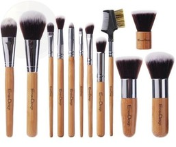 Emaxdesign 12 Pieces Makeup Brush Set Professional Bamboo Handle Premium... - $27.80
