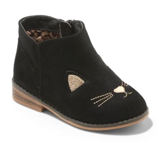 Cat & Jack Girls' Esylit Kitty Cat Black Gold Fashion Boots Toddler 8 US NWT