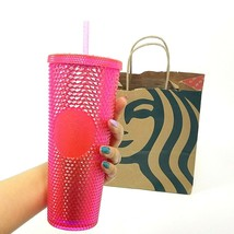 NEW Starbucks Winter Holiday 2019 Neon Pink Studded Cold Cup Tumbler 24O... - $30.44