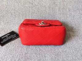 AUTHENTIC CHANEL RED QUILTED CAVIAR SQUARE MINI CLASSIC FLAP BAG SHW image 3