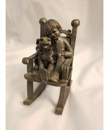 M.A. Ricker Pewter Sculpture Boy (Ray) in Rocking Chair with Dog - $9.85