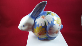 Andrea By Sadek Handpainted Bunny Rabbit ~ Blue Floral With Yellow Daisies - $11.88