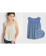 Gap Kid Girl Tank Top 10 12 Off White Eyelet Knit Cotton Blue Floral Squ... - $14.99