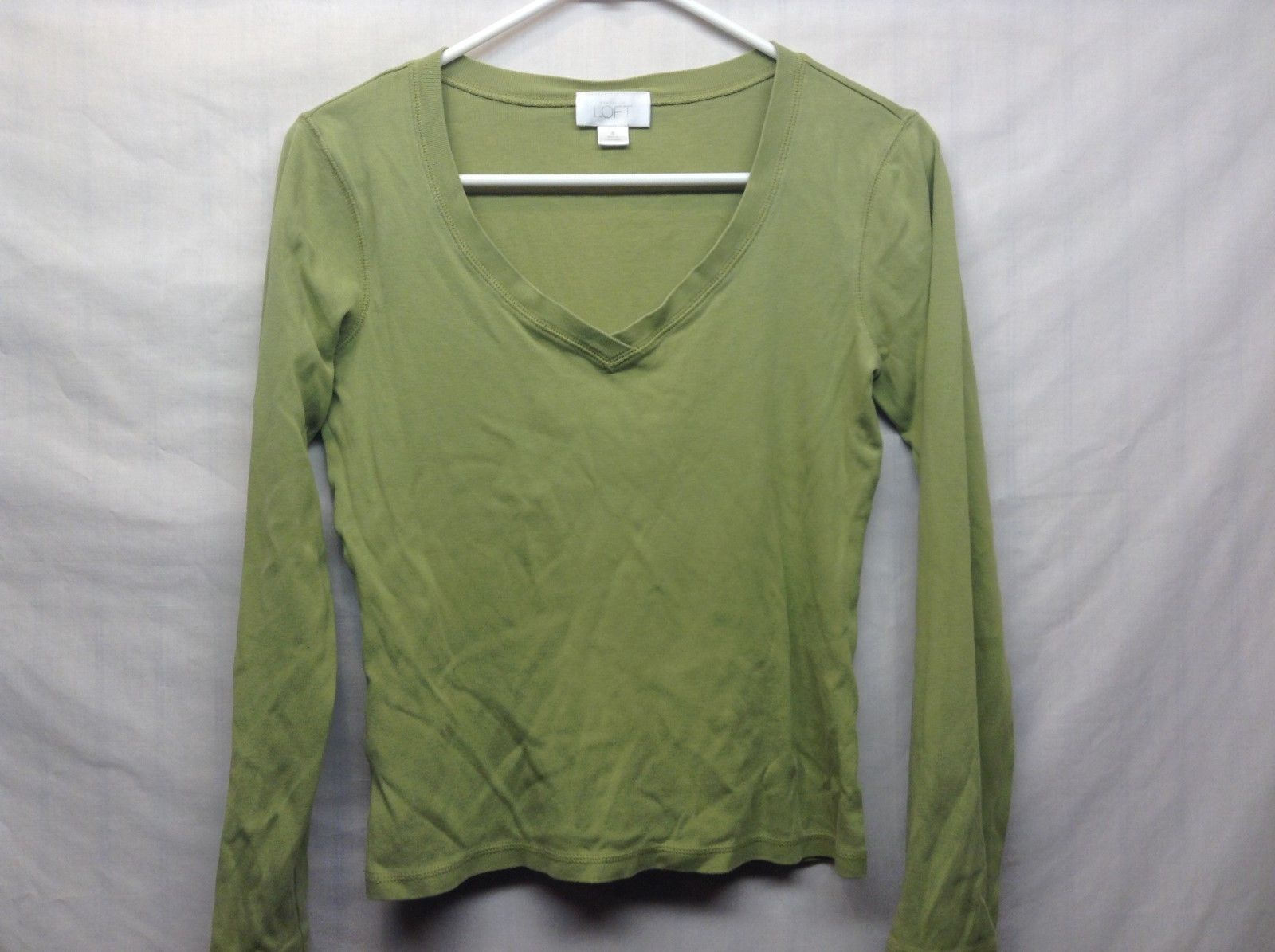 Ann Taylor LOFT Long Sleeve Cotton V Neck Green Pullover Sz S