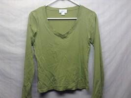 Ann Taylor LOFT Long Sleeve Cotton V Neck Green Pullover Sz S