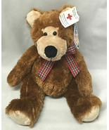 "Mary Meyer plush bear, plaid ribbon ""Braden Bear"" Brown & Tan - $9.85"