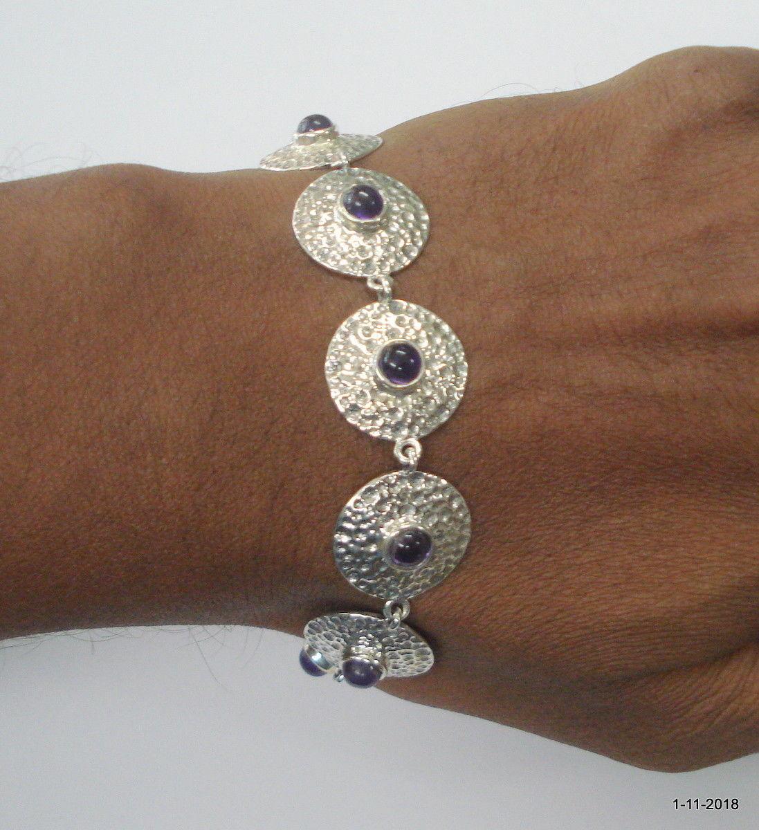 ethnic sterling silver bracelet bangle cuff amethyst gemstone bracelet