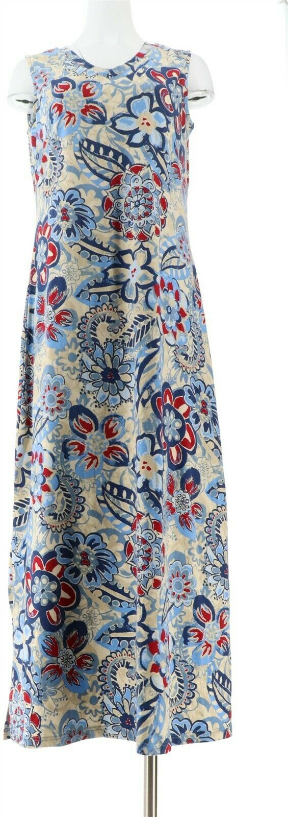 Primary image for Denim & Co Slvless V Neck Printed Maxi Dress Navy Multi S NEW A291636
