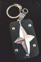 leather with stars and rounds with chainmail keyring  bronze keychain keyring