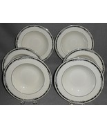 """1990s Set (6) Lenox CITY CHIC PATTERN 8 1/4"""" Rimmed  Soup Bowls MADE IN USA - $79.19"""