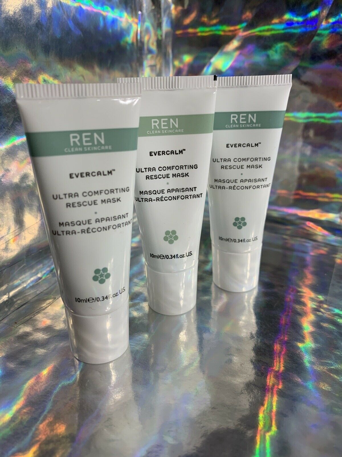 Lot Of 3 Evercalm Ultra Comforting Rescue Mask 10mL Clean Skincare + Free TONER
