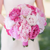 Hot pink & light pink rose peony bridal bouquet simulation wedding bride... - $52.00