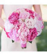 Hot pink & light pink rose peony bridal bouquet simulation wedding bride... - $52.00