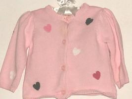 Girls Pink Hearts Cardigan Size 3-6 Mos. Gymboree - $4.00