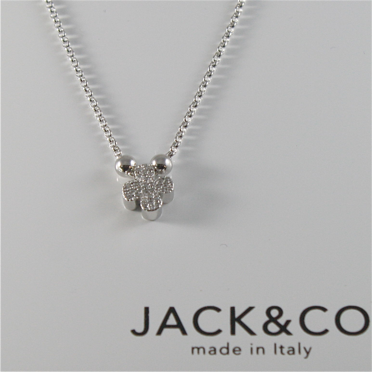 CHAIN TO RINGS 925 SILVER JACK&CO WITH FOUR-LEAF CLOVER WITH ZIRCON JCN0528