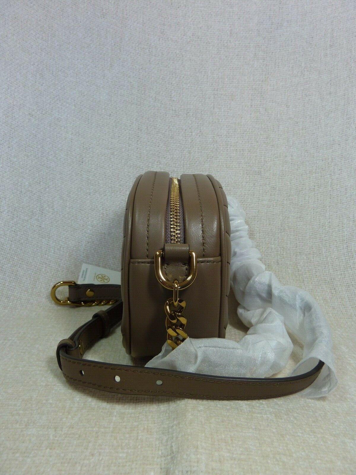 NWT Tory Burch Classic Taupe Kira Chevron Small Camera Bag $358 image 3