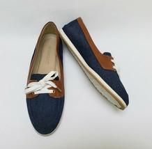 Aerosoles Womens Shoes Flats Lace Up Denim Smart Start Blue Brown Size 9 M - $39.55